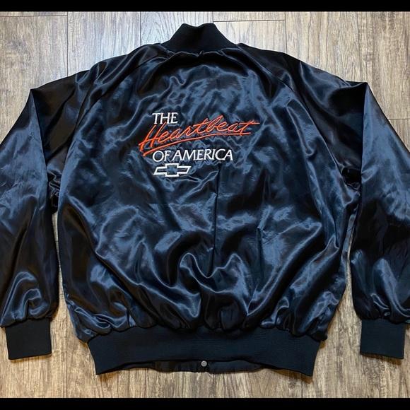 chevrolet 80s 90s windbreaker vintage PINK Chevy Heartbeat Of America Satin Bomber Jacket sz XL